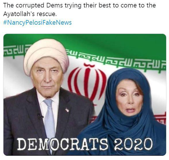 Trump retweets image of Pelosi, Schumer in Muslim garb next to Iranian flag