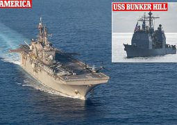 USS America and USS Bunker Hill sailed near a Chinese research ship spotted close to a Petronas exploration vessel.